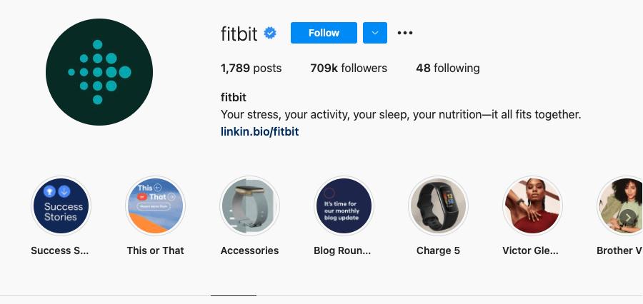 FitBit Instagram bio