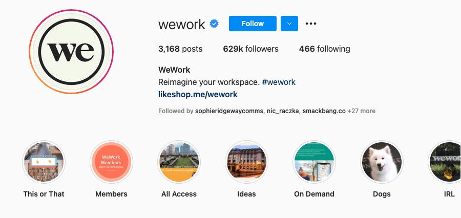 WeWork Instagram bio