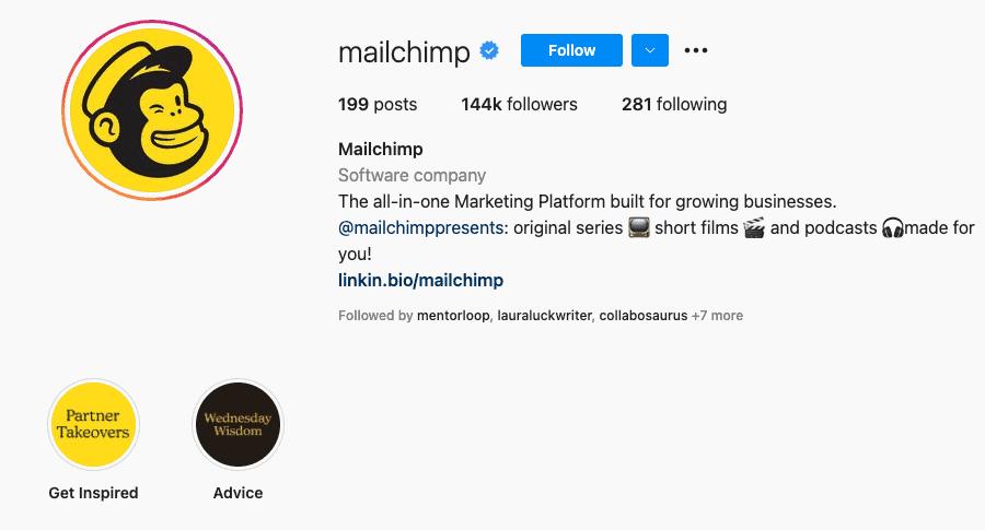 Mailchimp Instagram bio