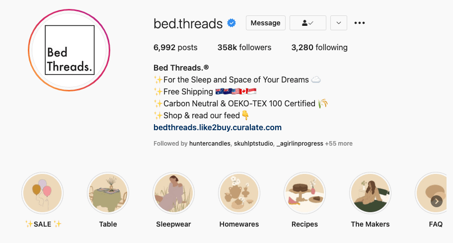 Bed Thread's Instagram bio