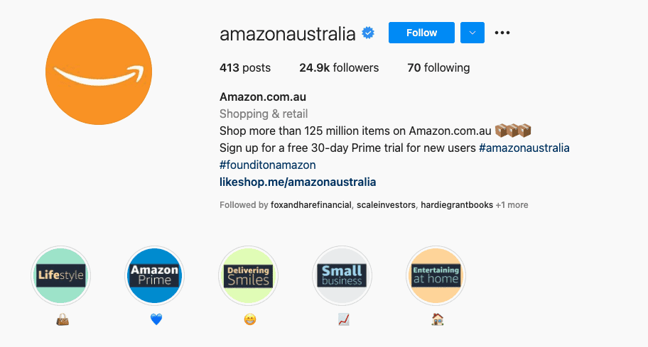 Amazon Australia's Instagram bio