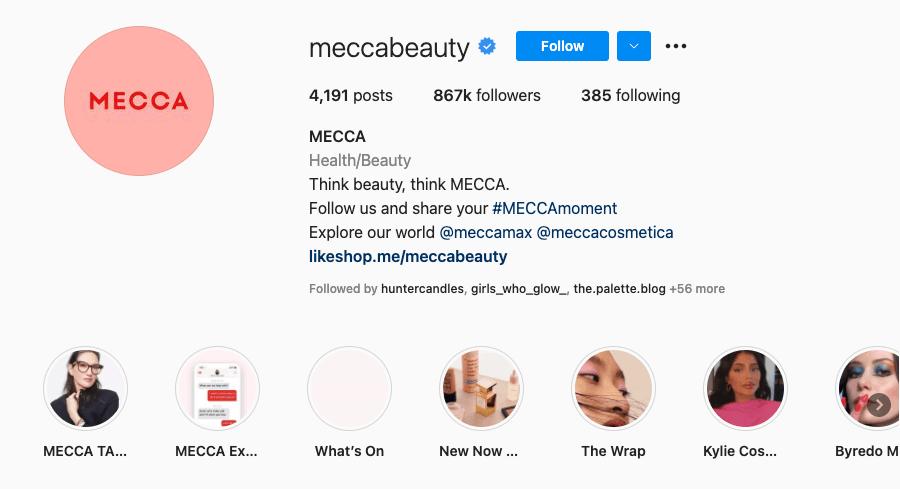 Mecca Instagram bio