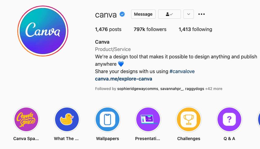 Canva's Instagram bio