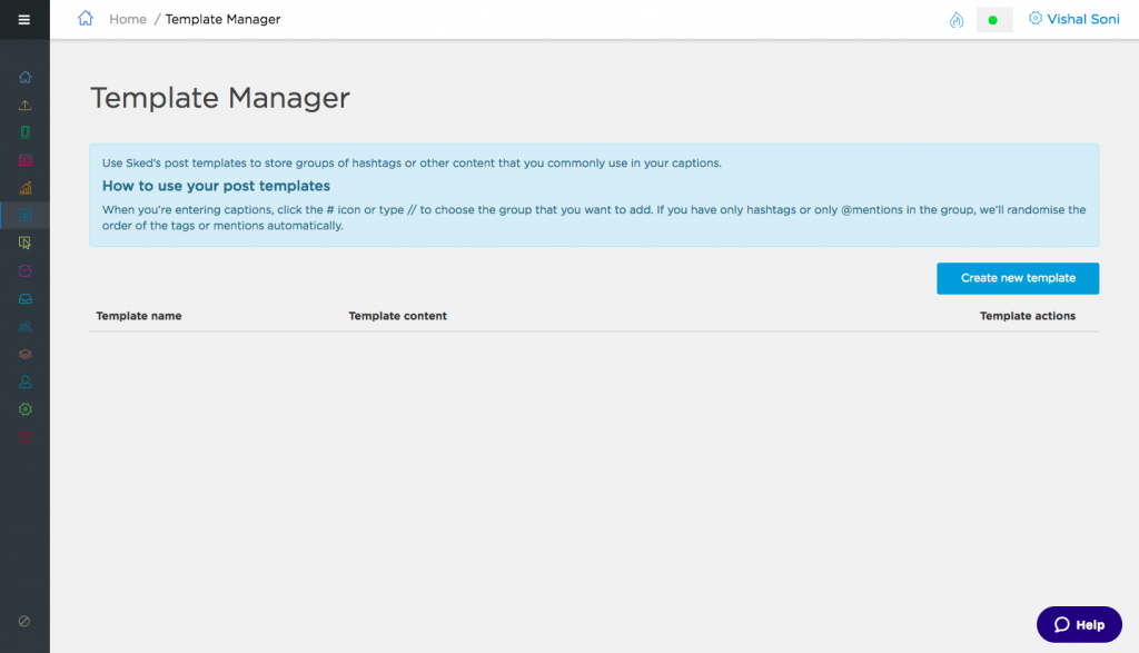 Sked Social Template Manager - Save reusable text, hashtags, user mentions
