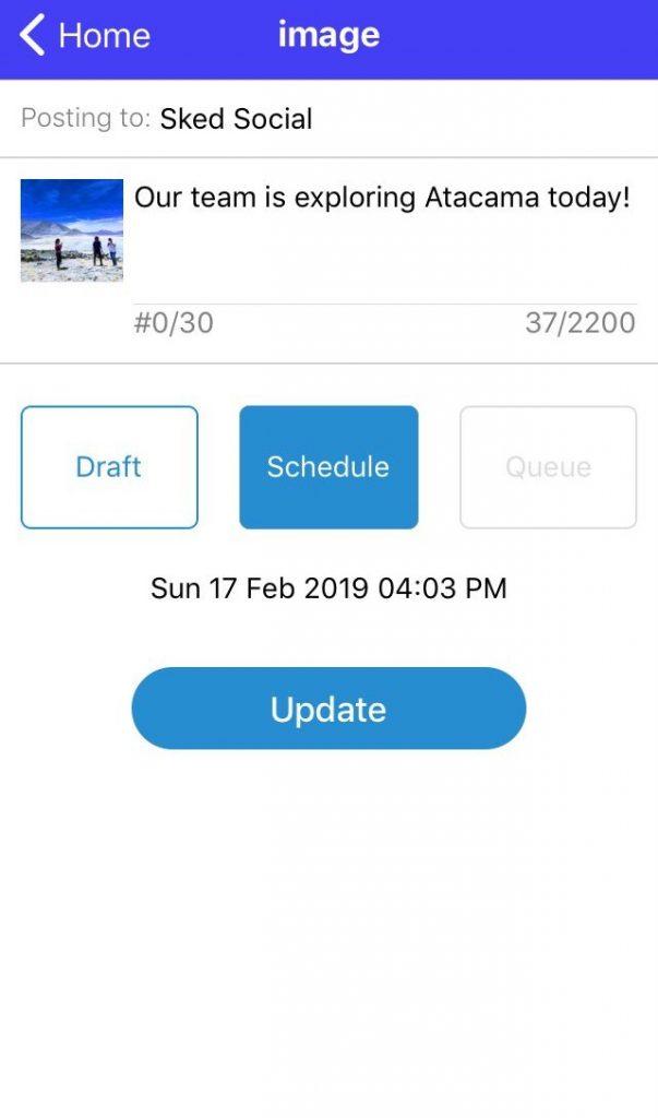 Sked Social Mobile App Edit scheduled posts or drafts