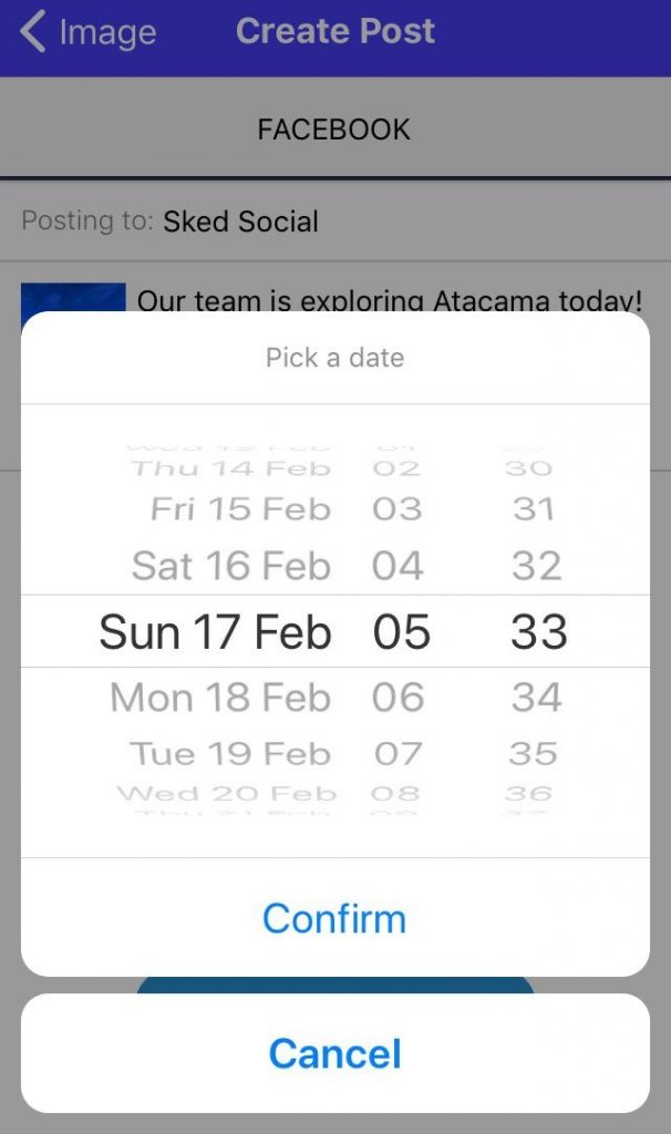 Sked Social Mobile App New post 5th choose date to schedule