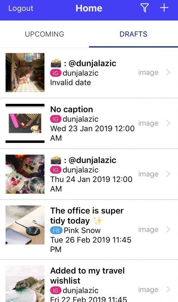 Sked Social Mobile App View drafts
