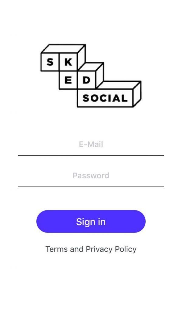 Sked Social Mobile App Login Screen
