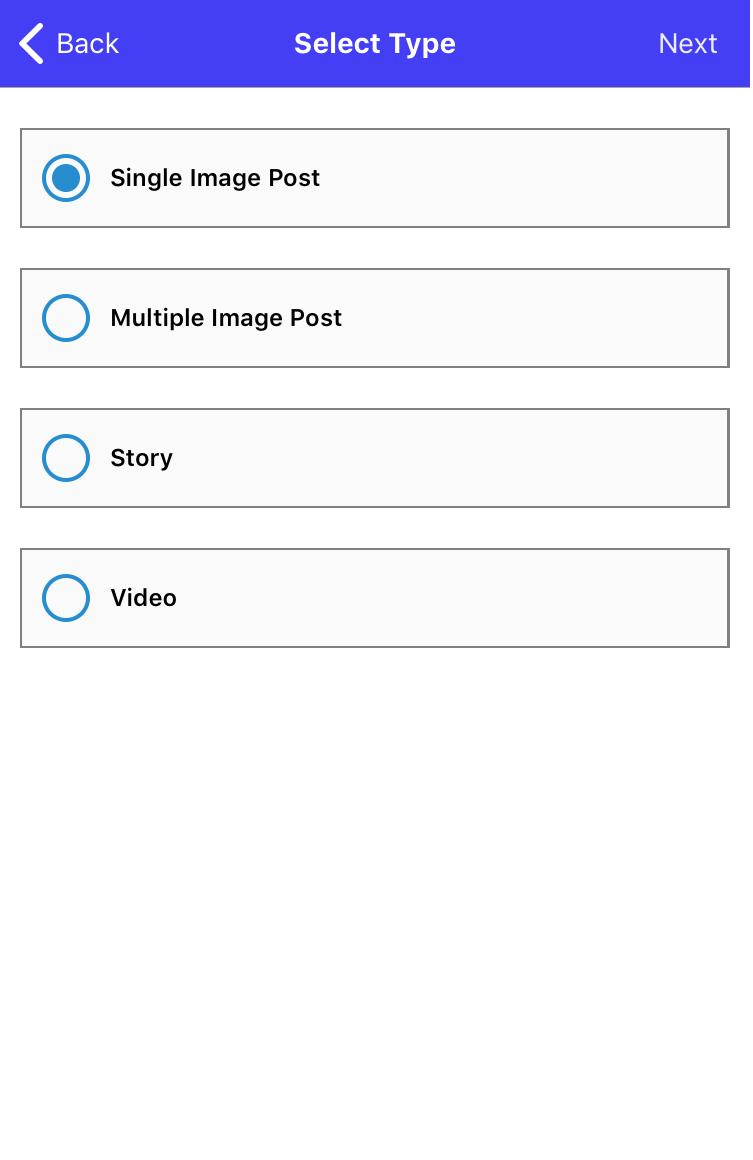 Sked Social iOS App - New post 2nd choose type of post