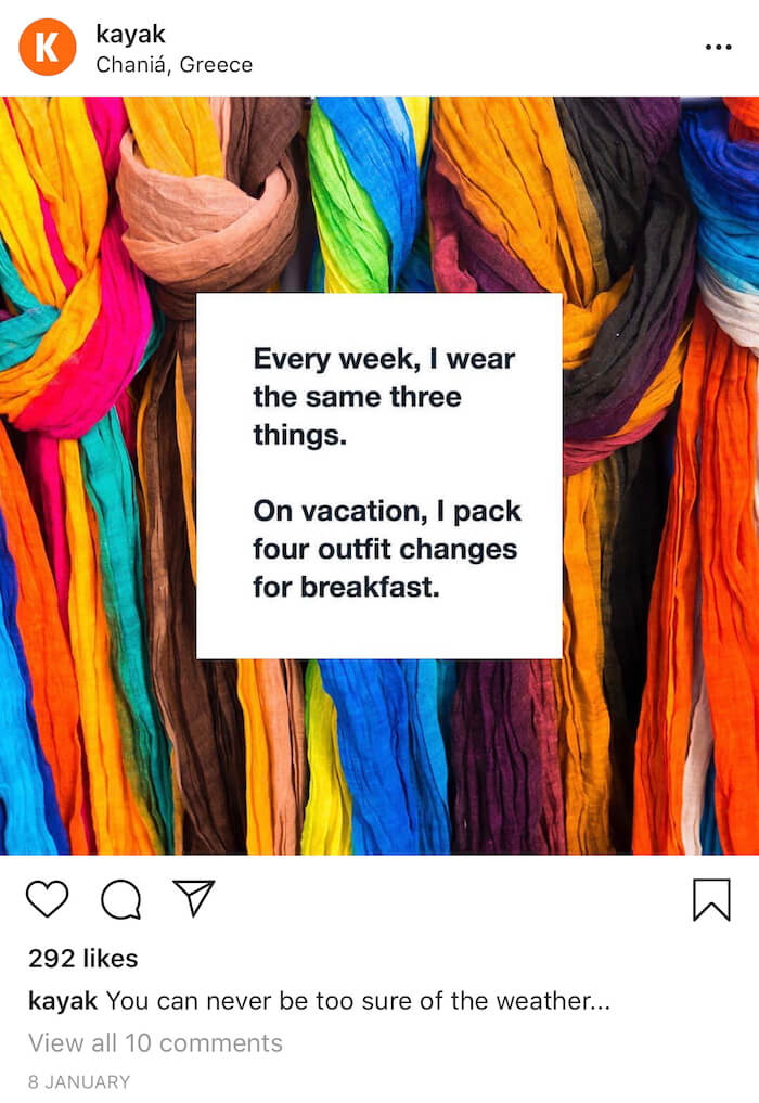 Travel Brands on Instagram - Kayak - Sked Social 3