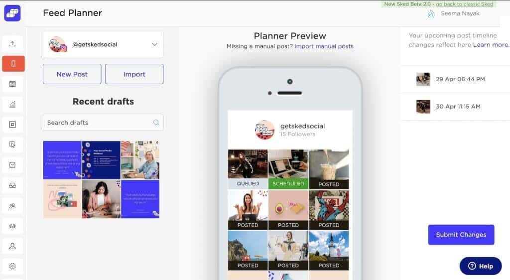 Instagram feed planner from Sked Social
