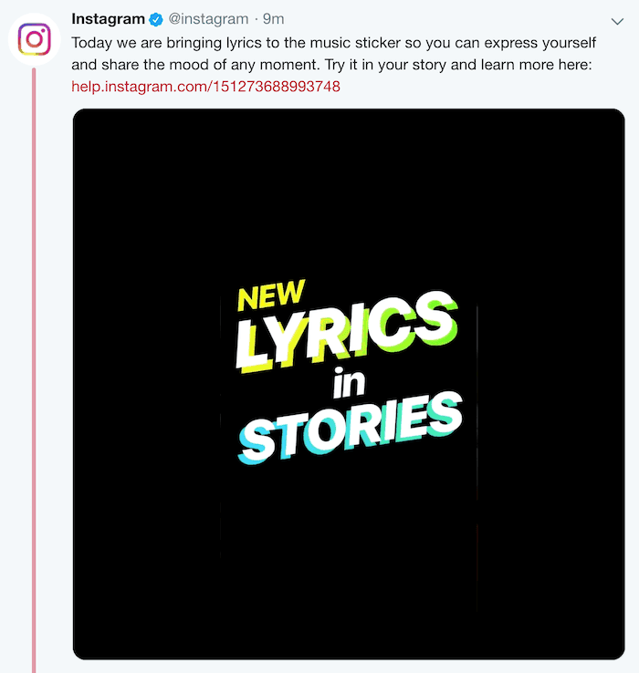 Instagram Lyrics in Music Sticker for Stories