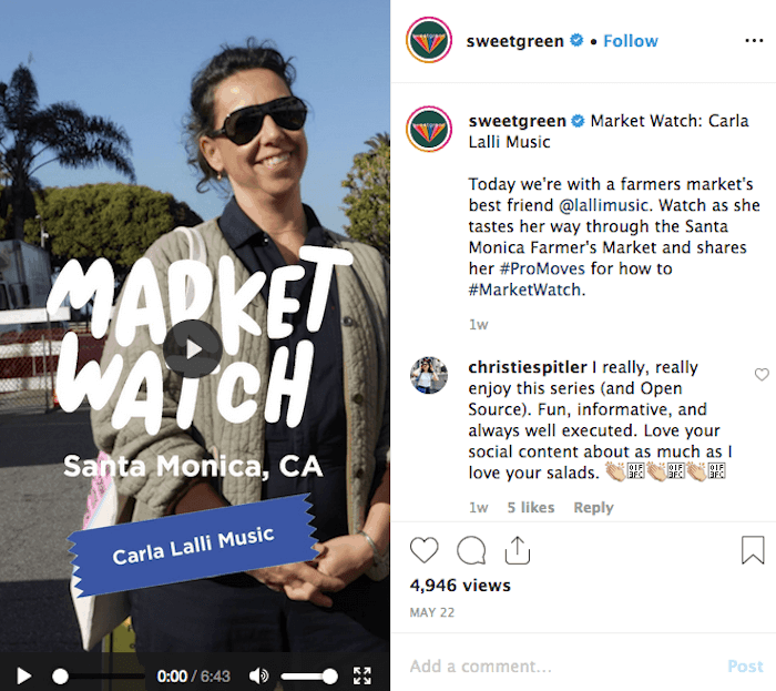 IGTV Content Ideas - Sweet Green - Sked Social