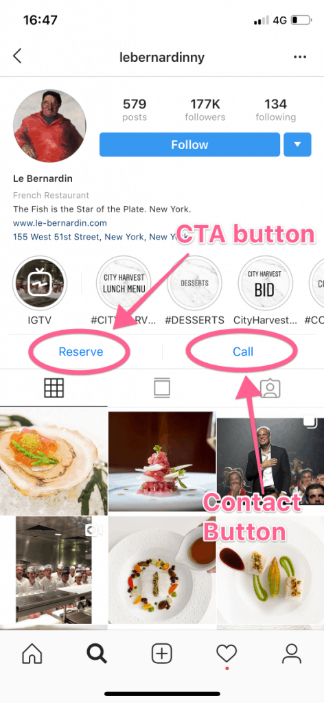 CTA Buttons and Contact Buttons in an Instagram Bio