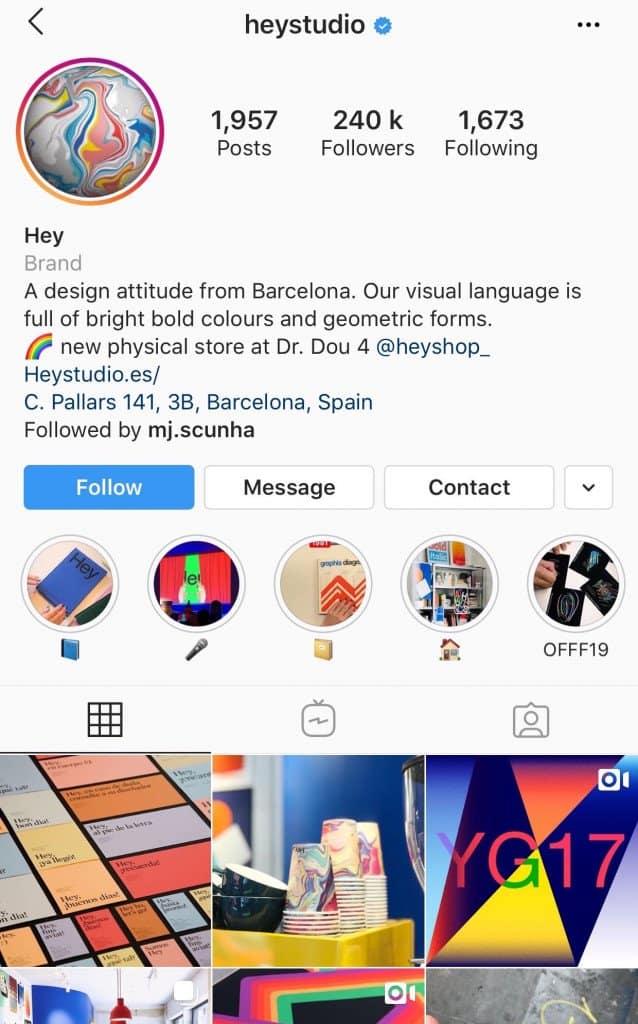 Hey Studio - Instagram social media agency example