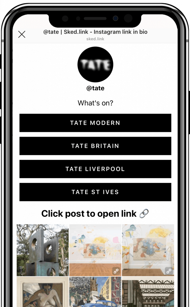 example instagram link in bio from @tate