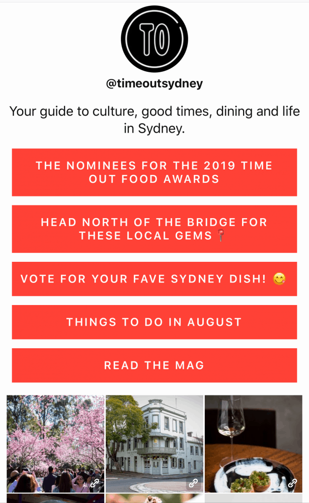 example link in bio page from @timeoutsydney