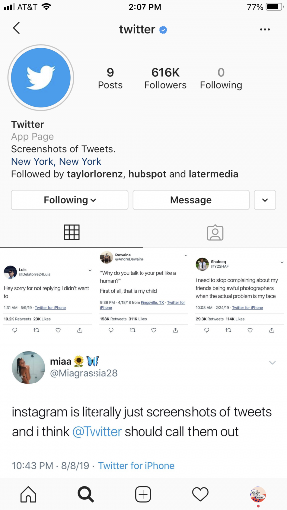 Twitter's Instagram page