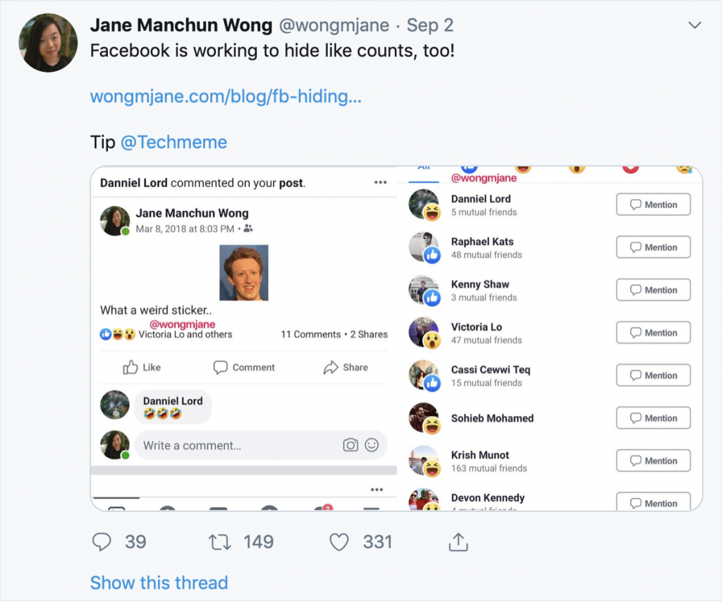 Tweet from @wongmjane about Facebook testing out hiding likes