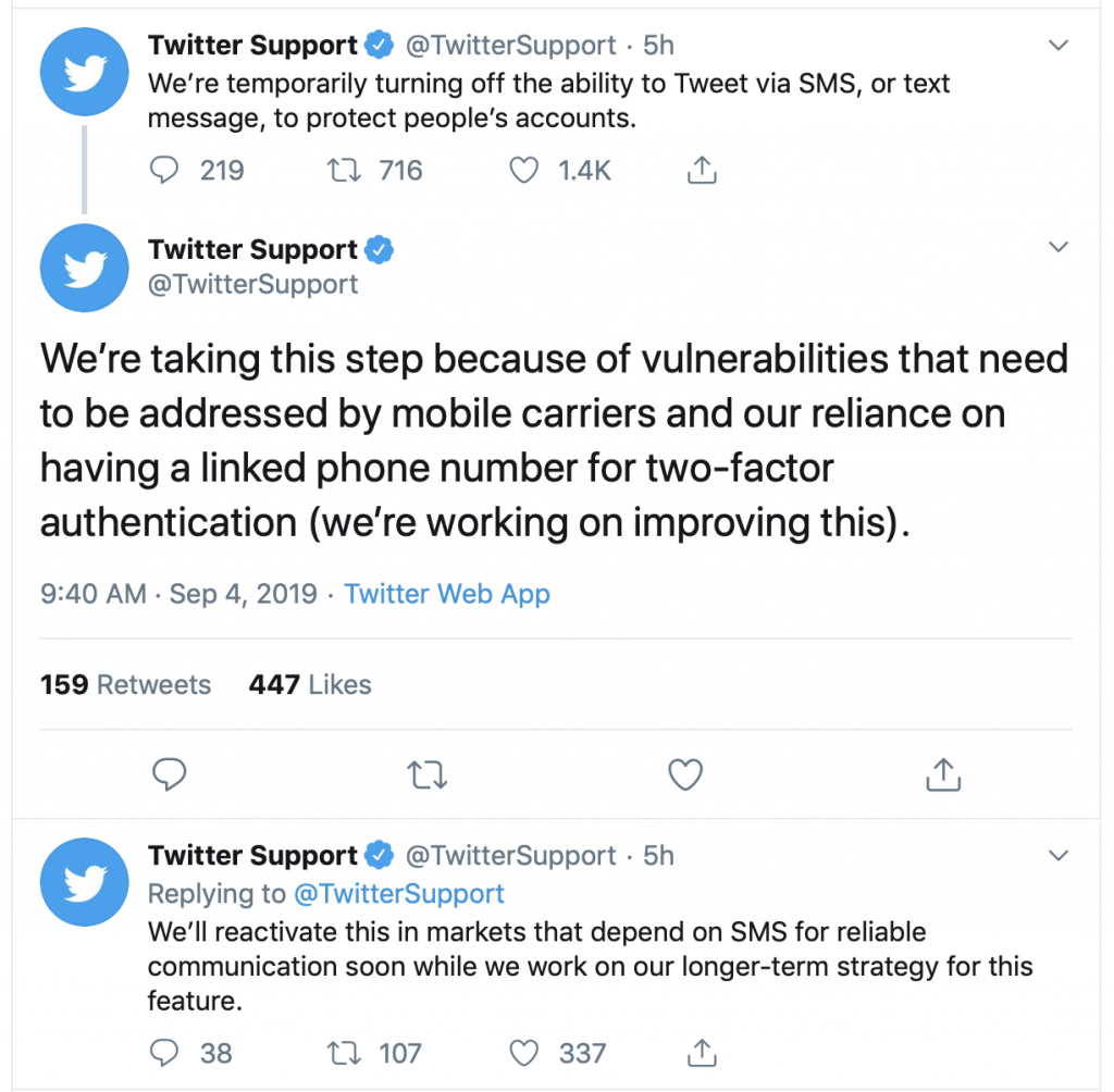 Tweet from @TwitterSupport about disabling the feature to Tweet via SMS