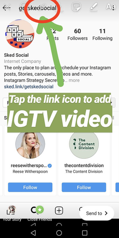 Insta story showing link option