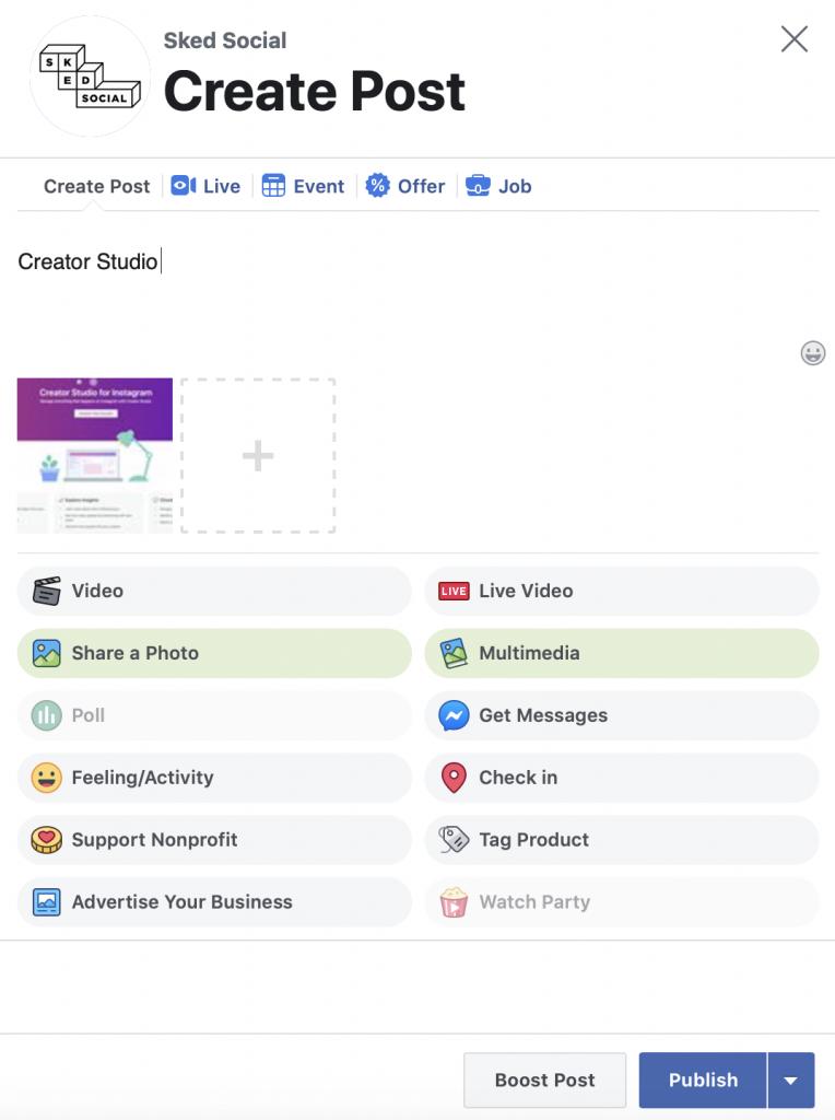 Creator Studio Facebook post