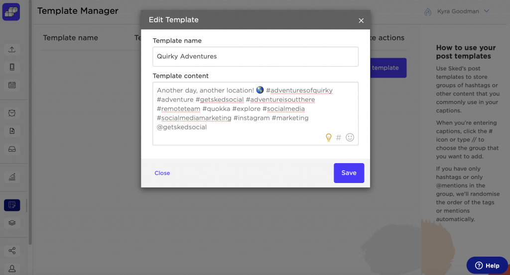 Sked Social #template manager