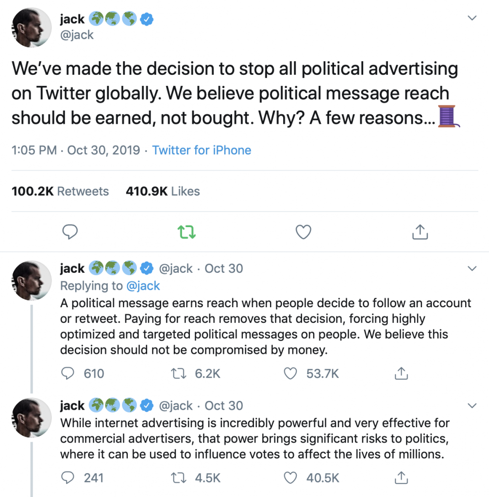 Jack Dorsey Twitter post