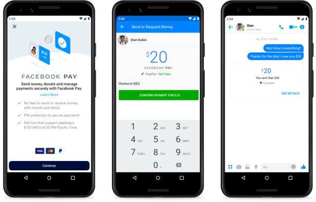 Interface for Facebook Pay