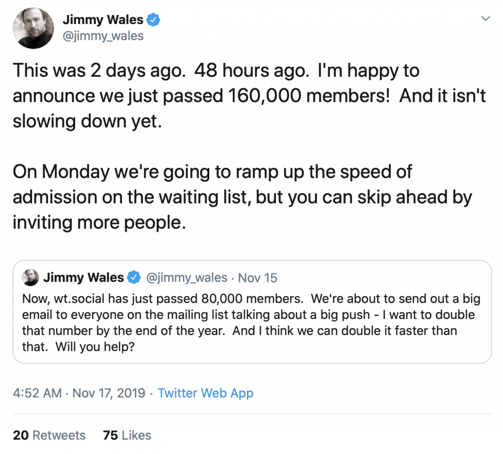 Jimmy Wales tweet about new social media platform WT:social