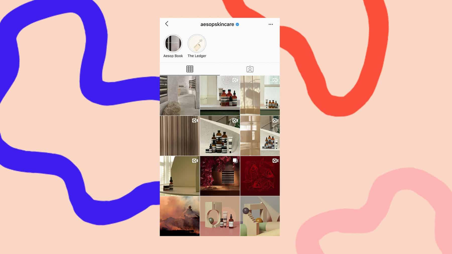 Aesop Skincare Instagram grid