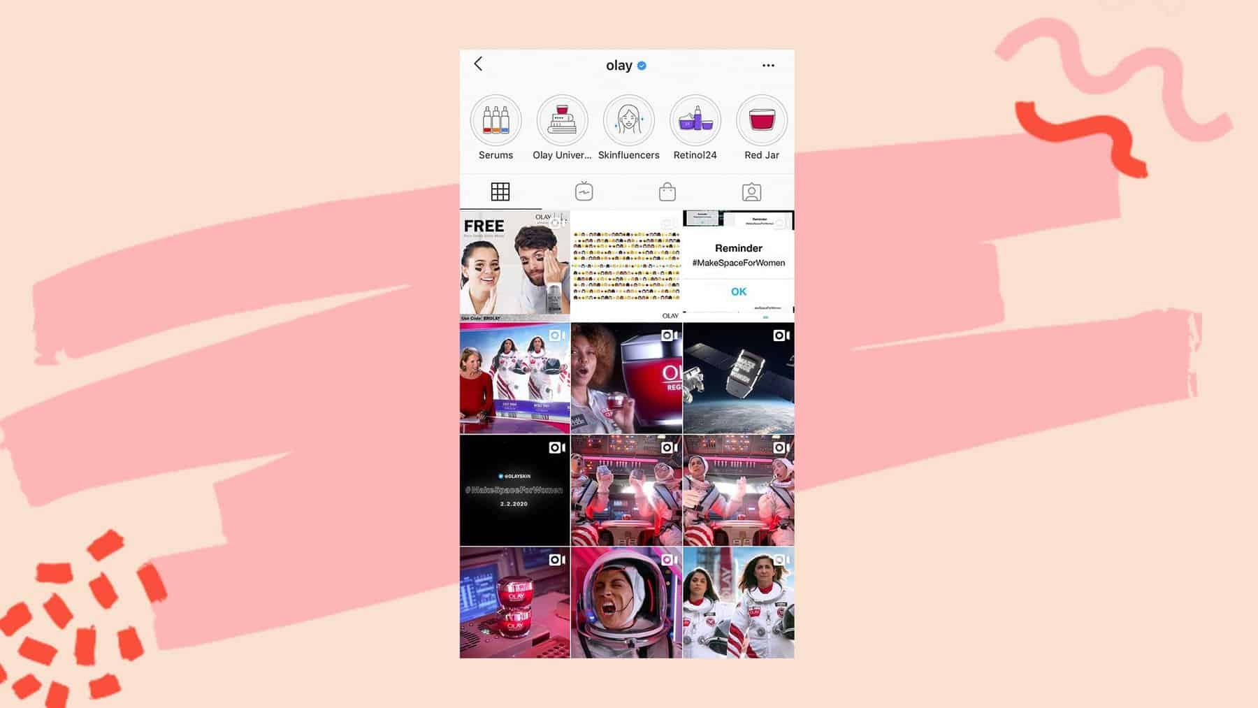 Olay Instagram grid