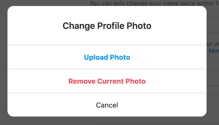 The final step when updating the profile picture.