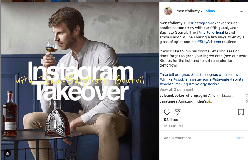 Image showing Instagram post promoting a takeover event.