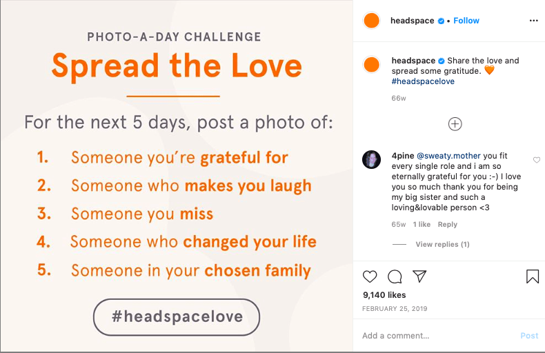 Example of an Instagram content idea showing a challenge.