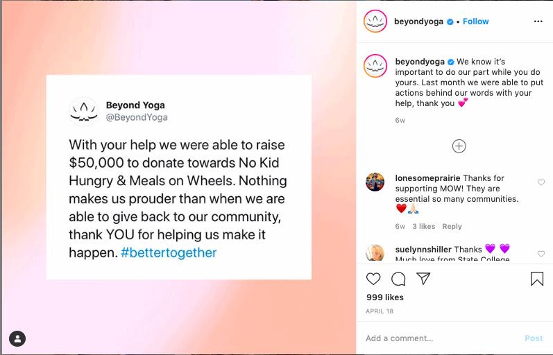 An example of an Instagram content idea featuring a tweet.