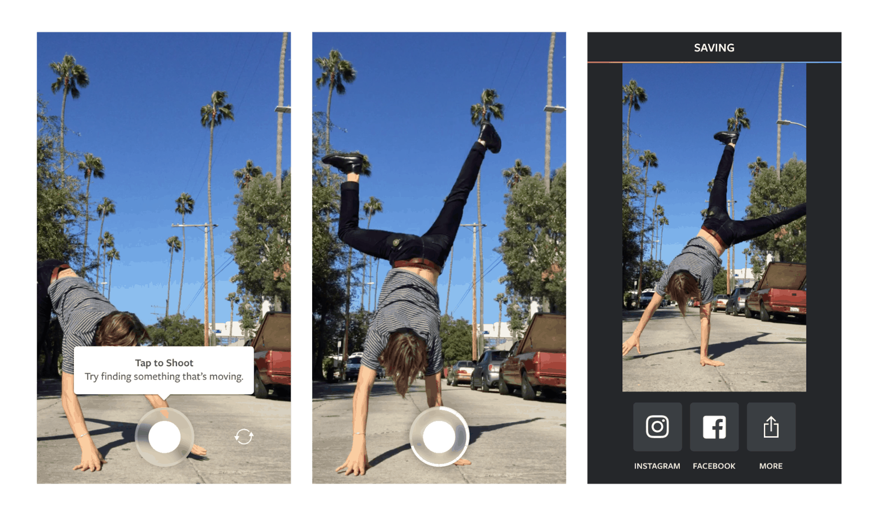 An image showing how to do a Boomerang on Instagram with the Boomerang app.
