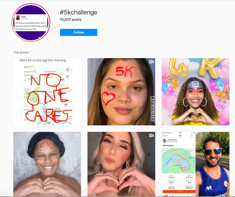 Hashtag challenge on Instagram.