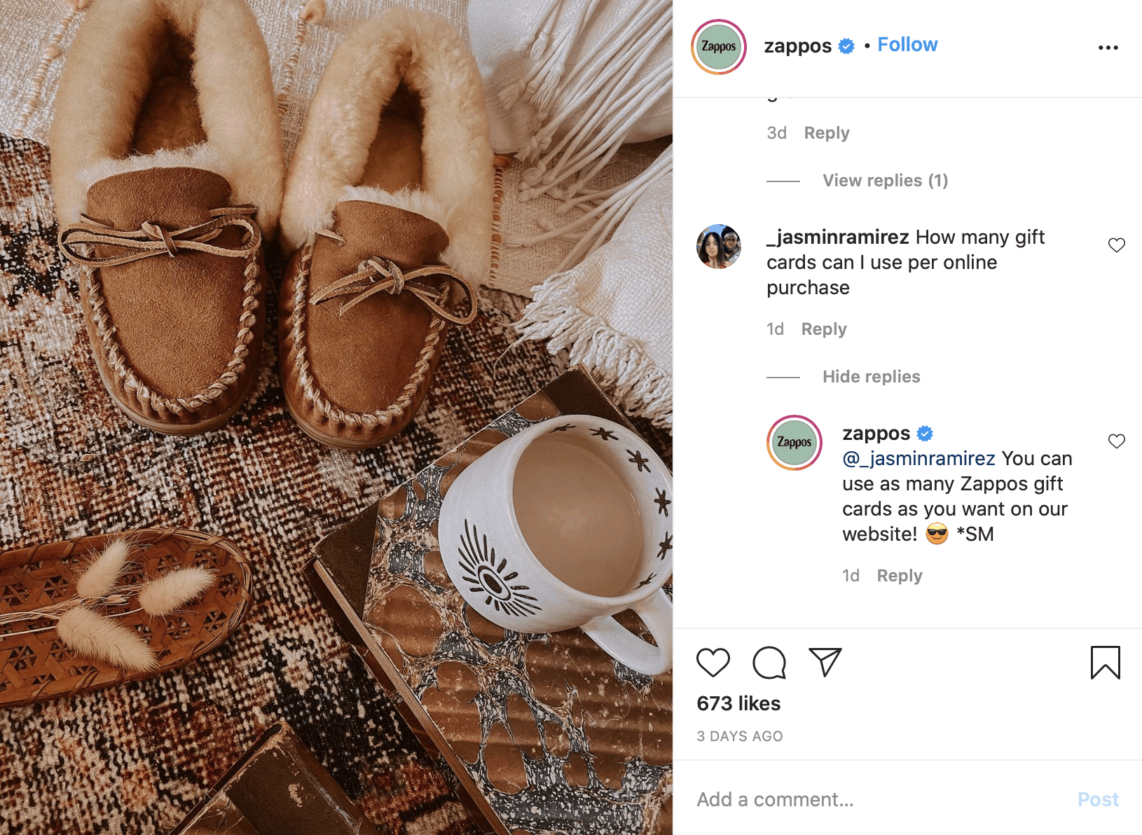 Another example of a brand providing customer service on Instagram.