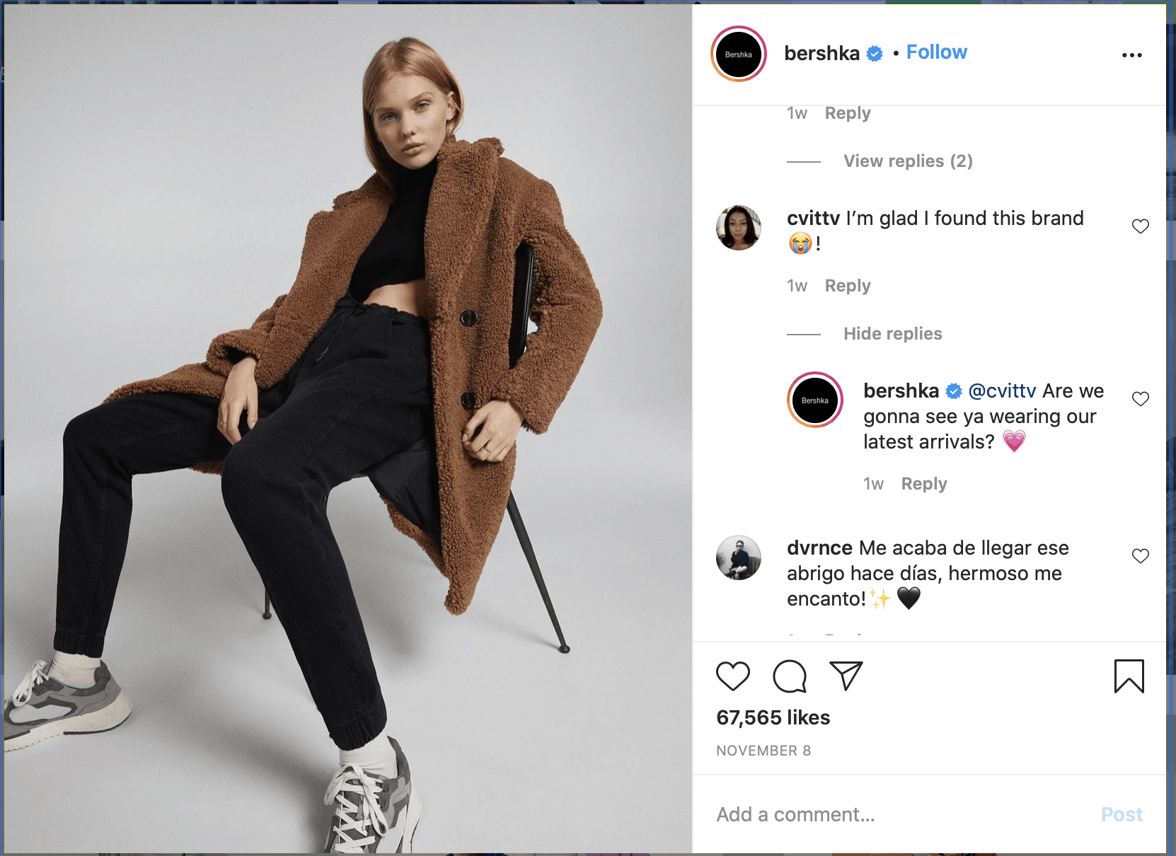 example of customer service on Instagram.
