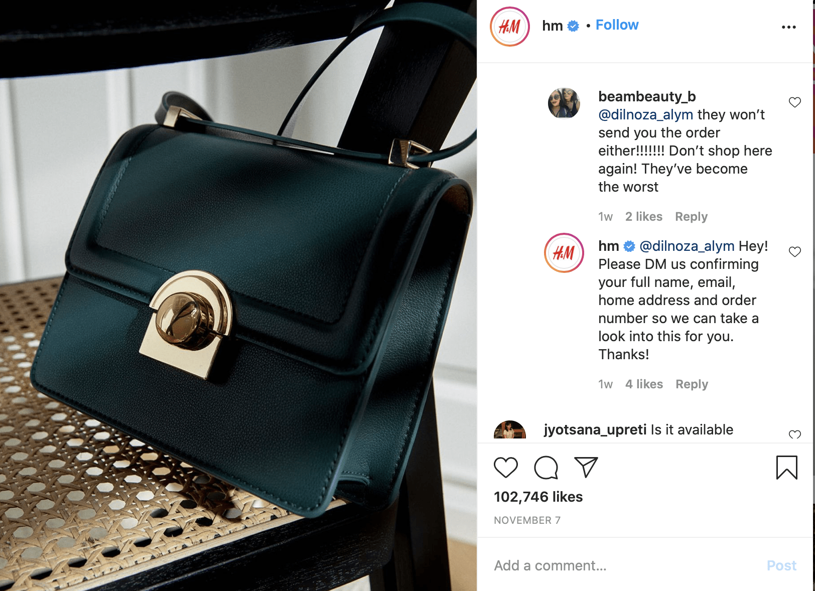 Another example of supporting customers on Instagram.