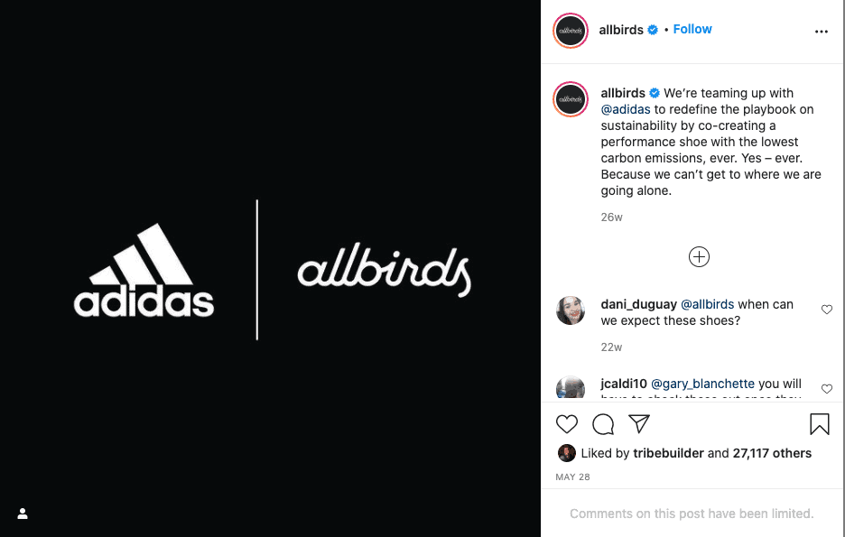 Example of two brands collaborating on Instagram.