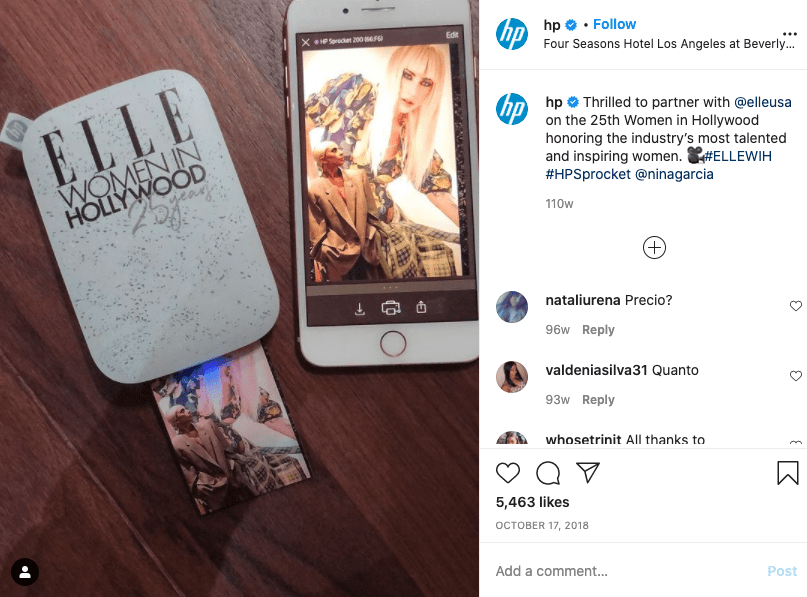 Example of a brand collaboration on Instagram.