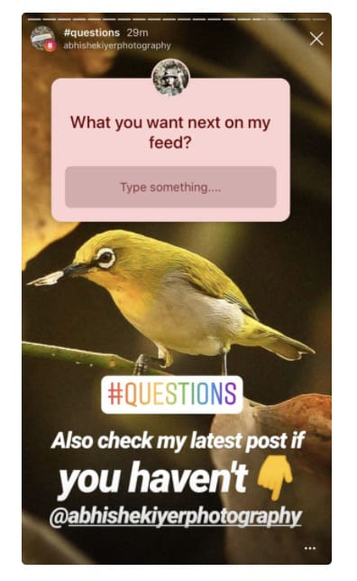 Asking questions on Instagram.