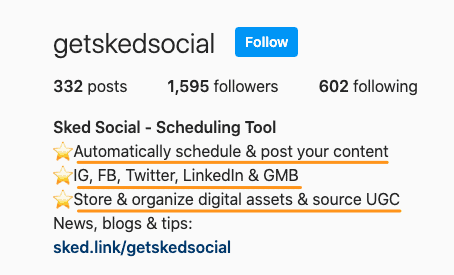 Keywords on Instagram profile.
