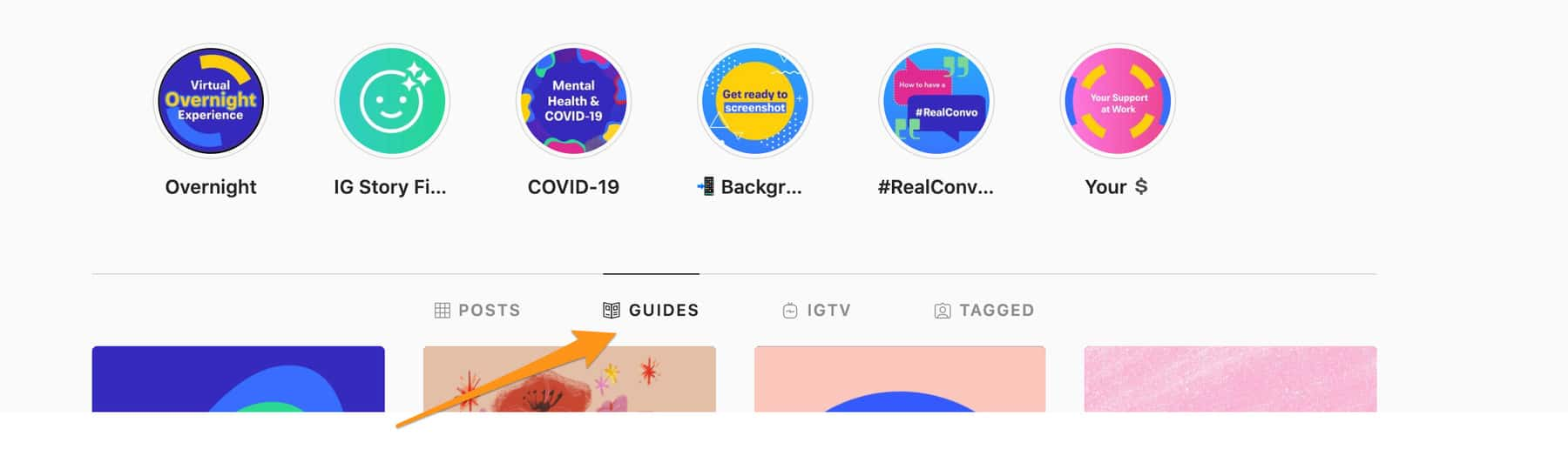 An image showing where to find Instagram guides.