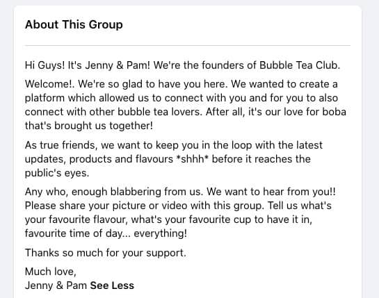 Bubble Tea Club Facebook Group About section