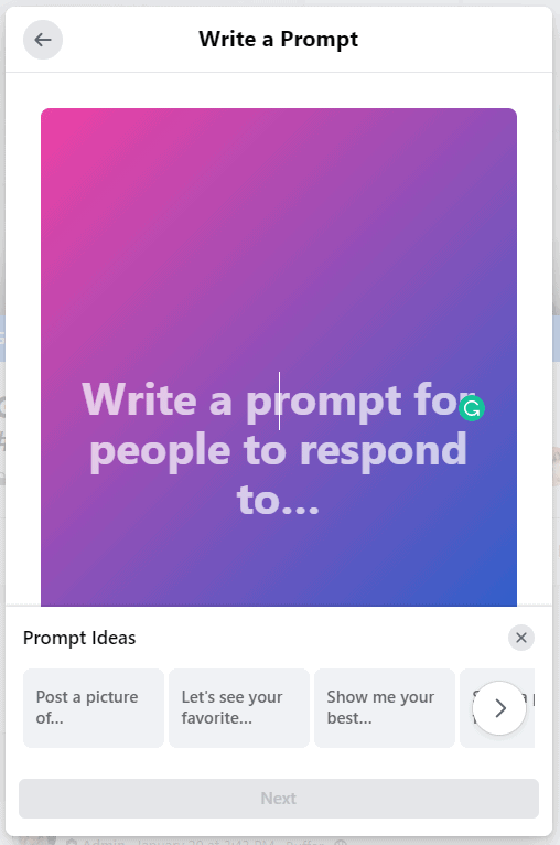 Creating a prompt in a Facebook Group