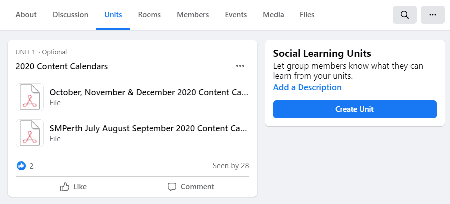 Adding a Learning Unit to a Facebook Group