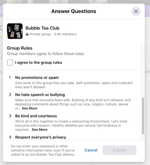 Example questionnaire for users joining a Facebook Group